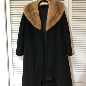 Jackets & Blazers - Vintage Wool Coat With Mink Collar